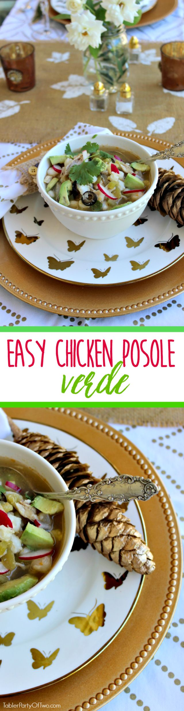 Easy Chicken Posole Verde is so AMAZING! And one of my favorite things about the recipe is that it literally takes only 20 minutes to make. It's perfect for a chilly fall or winter day and will please the whole family! TablerPartyofTwo.com