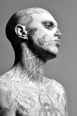 This guy is freakin' gnarly! Zombie boy/Rick Genest / male models, tattoos
