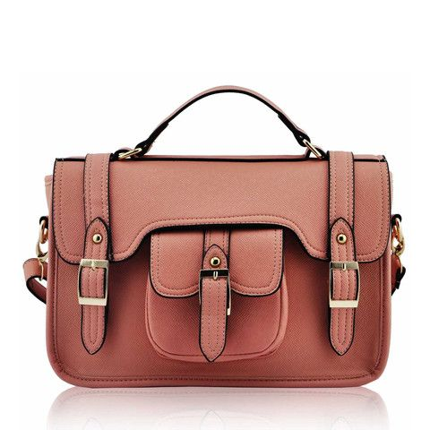 Pink Classic Buckle Satchel Bag with Long Strap - Satchels and Shoes