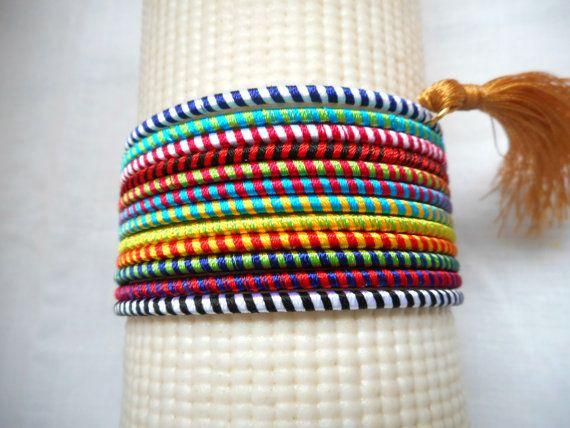 Indian Bangles Tassel Bracelet Set Gold Tassel by IndiaTradition
