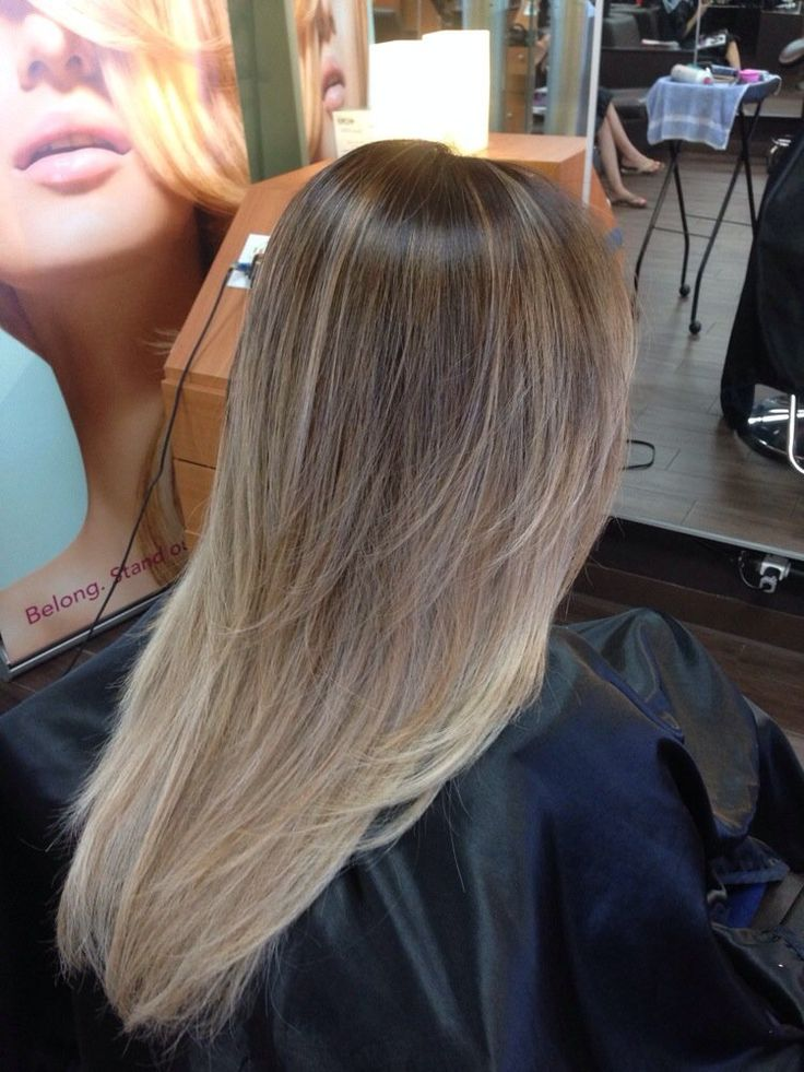 Light brown hair with ombre tips