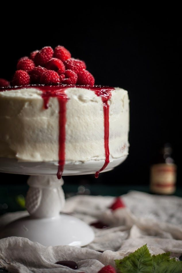Raspberry Brown Butter Cake with Goat Cheese Buttercream & a Raspberry Port Reduction via Adventures in Cooking #recipe