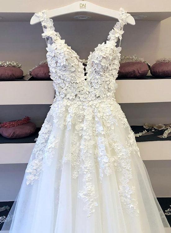 Weißer Tüll Spitze Applique langes Abendkleid, formelle Kleidung – Wedding – #…
