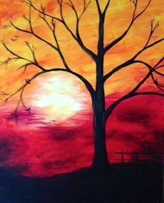 Sunset tree in acrylic on canvas