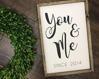You and Me Sign | Established Date Sign | Farmhouse Style | Wood Sign | Gift for Her | Couples Gift | Wedding Anniversary Gift | Me and You