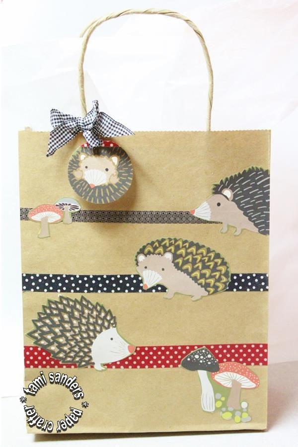 hedgehog bag, gift bag,hedgehog,teacher gift,tami sanders