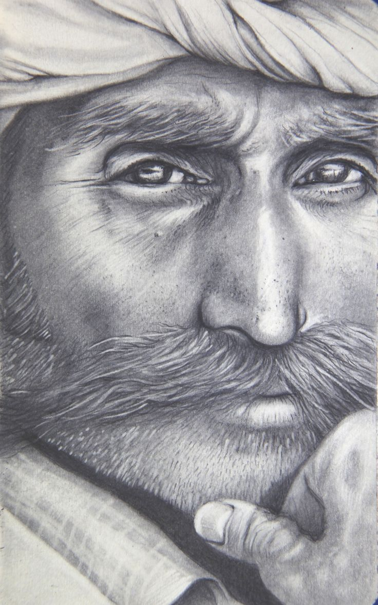 A Portrait from Rajasthan - Graphite on Paper