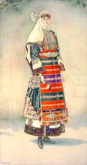 Macedonian Costume:  Greek Peasant Woman's #Dress (#Macedonia, Kapoutsides) northern #Greece