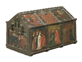 Medieval-style jewel casket belonging to Jane Morris, Dante Gabriel Rossetti (1828–1882) and Elizabeth Siddal (1829–1862), c 1859, wood bound with studded iron bands