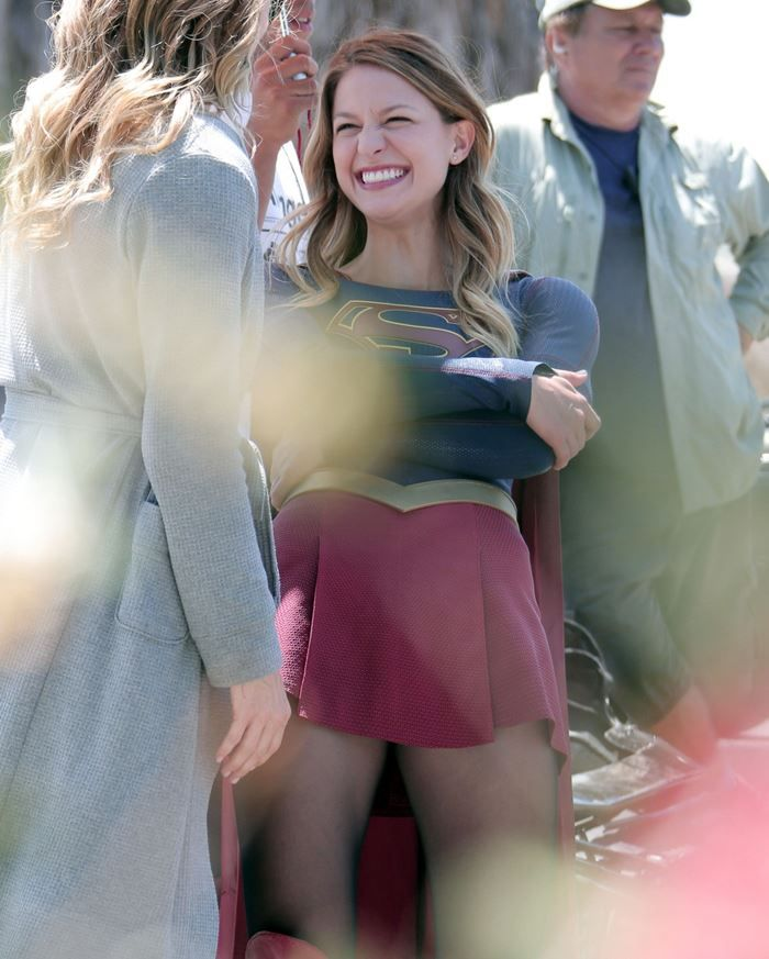 Melissa Benoist - On the set of Supergirl in Los Angeles