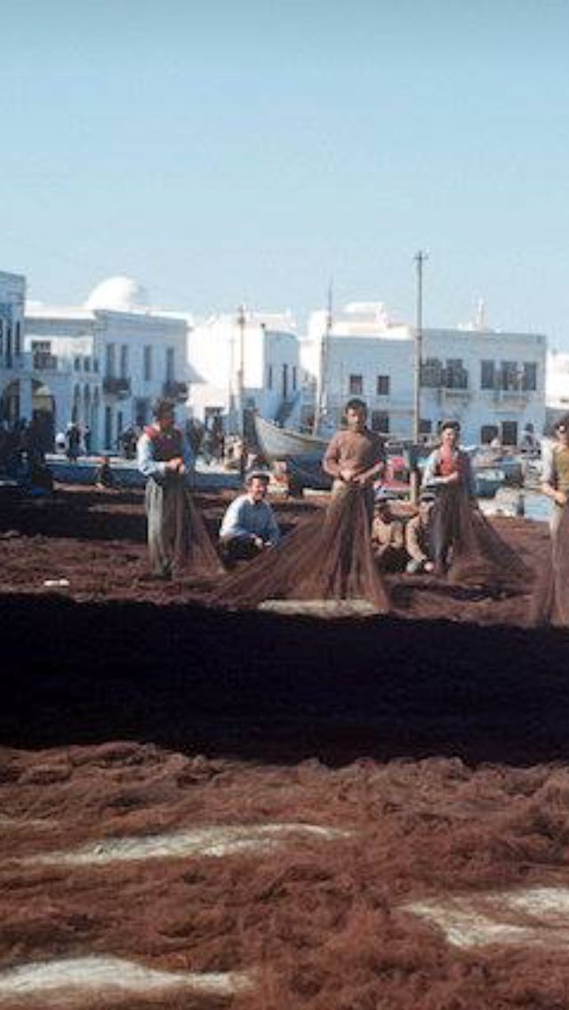 #Mykonos #fishermen at the #town-port,1954. Photo by D.Koutsoukos
