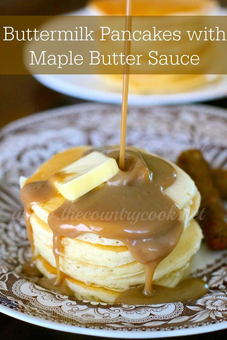 Buttermilk Pancakes with Maple Butter Sauce | www.thecountrycook.net| #FleischmannsYeast