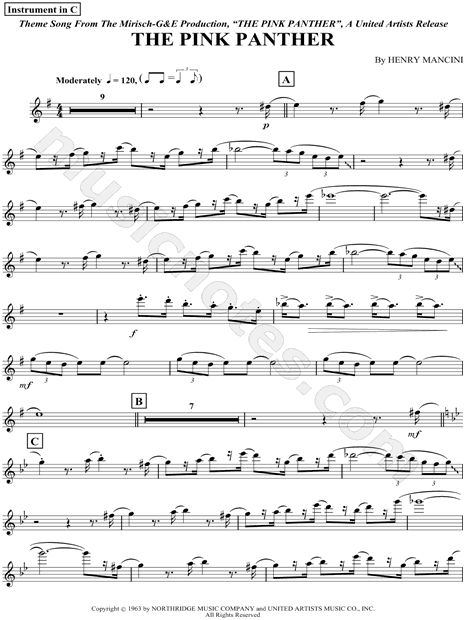 Print and download The Pink Panther - Flute sheet music composed by Henry Mancini arranged for Flute or Violin or Oboe or Recorder. Instrumental Part in E Minor.