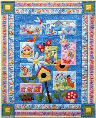 Quilt Inspiration: Free pattern day ! Bird houses.