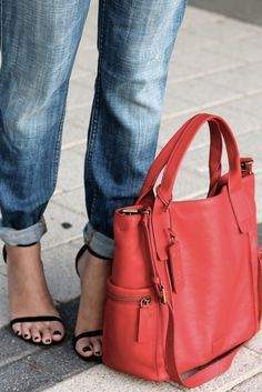 Pops of classic red with our Emerson Satchel, for more great shapes visit our blog at http://www.hadasu.com