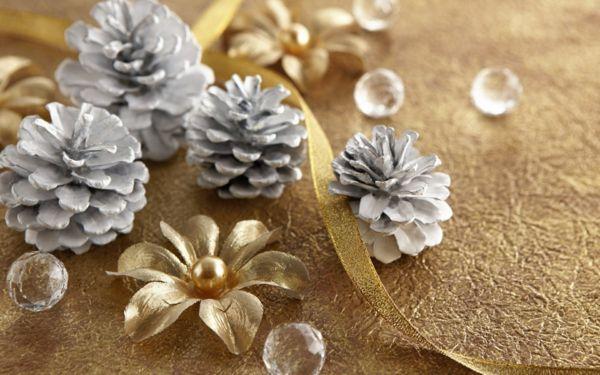 toque flores natal decoração prata dourada