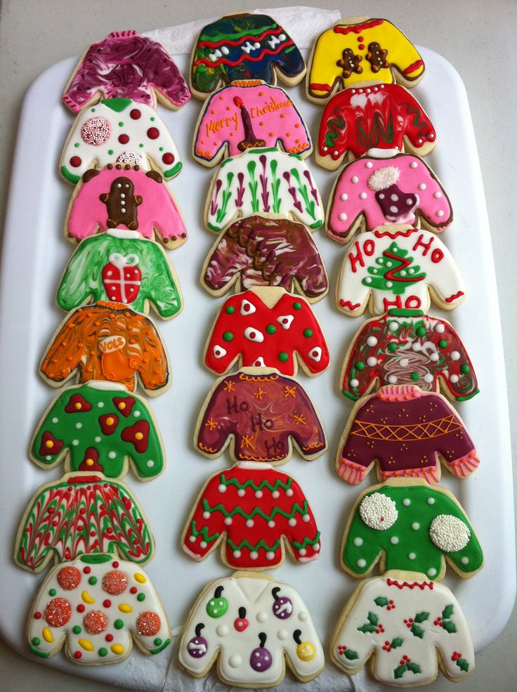 Tacky Christmas Sweaters - Decorated Sugar Cookies by I Am The Cookie Lady