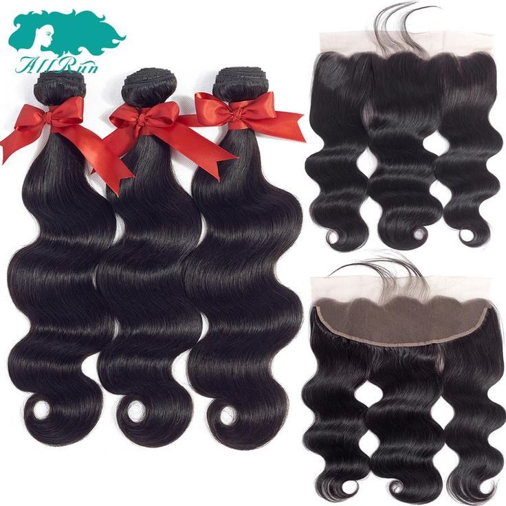 Allrun Hair 13×4 Ear To Ear Lace Frontal With Bundles Peruvian Body Wave Human Hair Bundles With Closure Lace Frontal Non Remy
