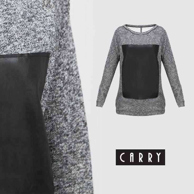 Na te chłodne dni proponujemy szarą bluzę z czarnym, modnym elementem. Idealna do jeansów, jak i spódniczki! #autumn #outfit #fashion