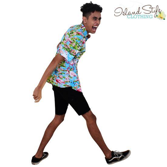 Groovy Flamingo Hawaiian Shirt! PARTY TIME. Surf, Skater, Casual, Music Festival, Schoolies, Cruise, Halloween.