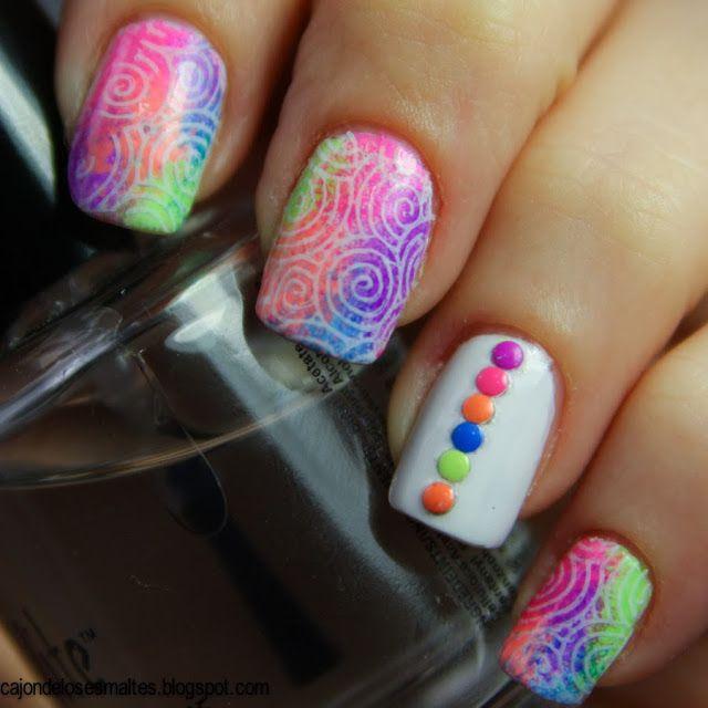 Uñas neon esponjadas - Reto BAT - Cajon de los esmaltes