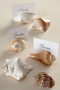 Sea Shell Place Cards: Place Card Holders, Sea Shells, Shells Places, Place Cards, Beaches Theme, Wedding, Beaches Parties, Parties Ideas, Places Cards Holders
