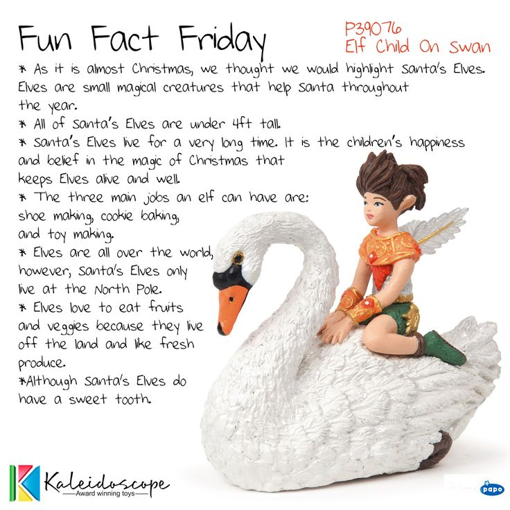 Fun Fact Friday Papo P39076 - Elf Child On Swan. Distributed by Kaleidoscope.