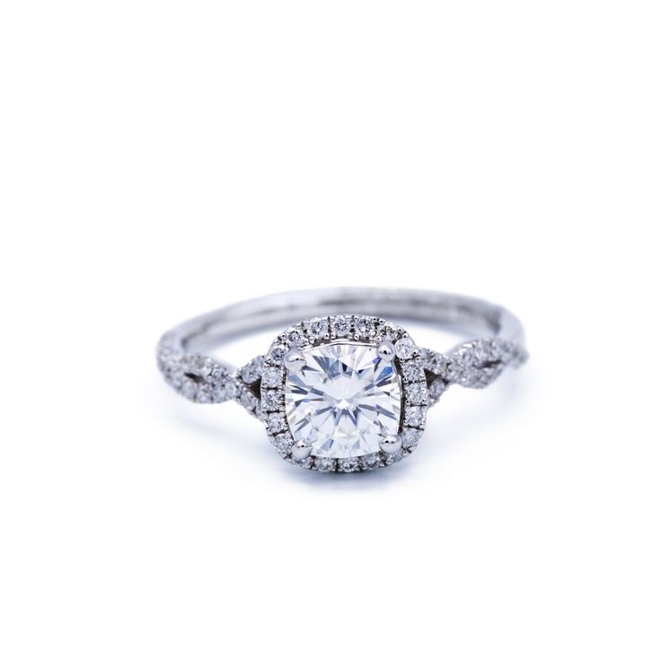 7.5mm Charles & Colvard Forever ONE Cushion Moissanite 14K White Gold Infinite Band Halo MicroPave Diamond Ring 2.45 CTTW
