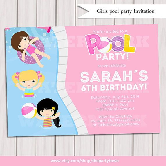 Girl Pool Party Invitation, Kids Pool Party Invitation, Pool party Invitation, kids pool party, Pool birthday, Party Digital Printable DIY