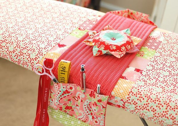 Sewing room tip: use an organizer like this one on your ironing board to help keep pins, tools, and thread snips out of your way when ironing.