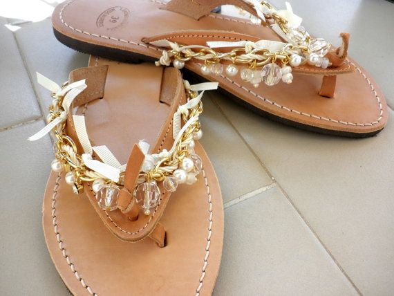 Wedding sandals Boho chic leather flip flops Gold by dadahandmade