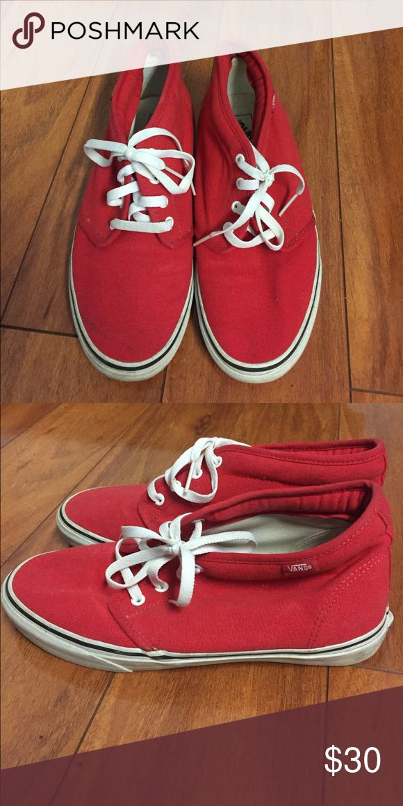 Vans Men's Chukka Boot Hardly used Red and White Vans Chukka Boot (10 oz canvas) Vans Shoes Chukka Boots