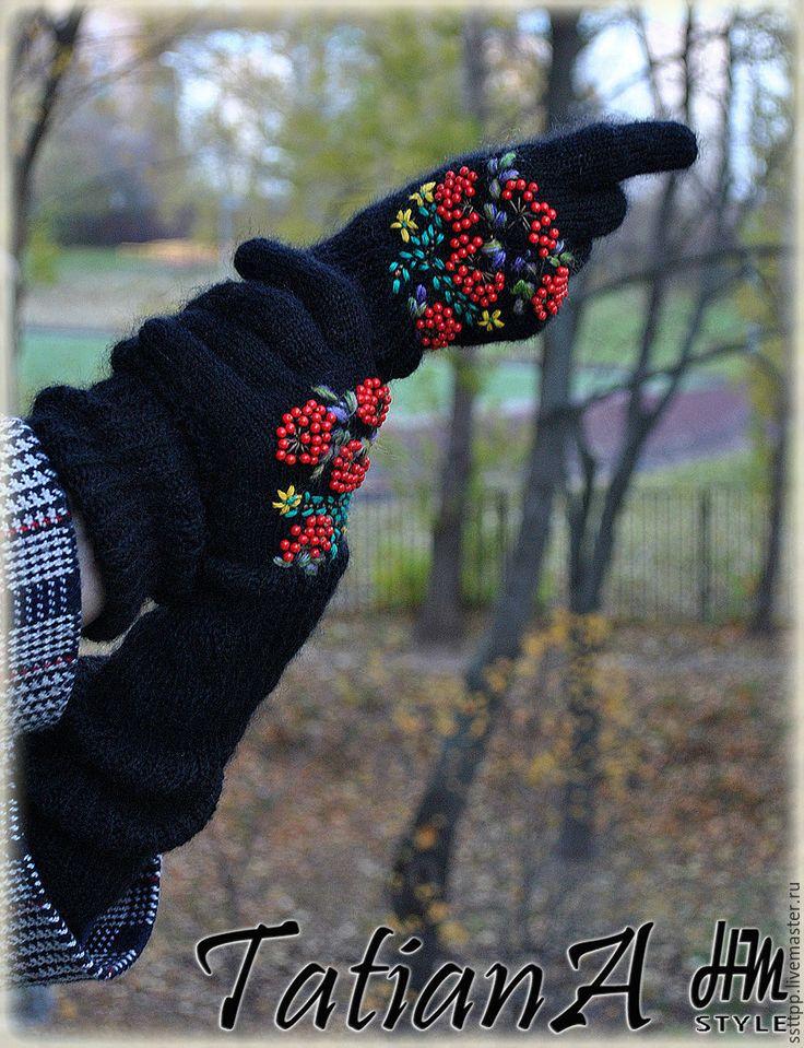 """Купить Длинные перчатки с вышивкой """"Рябиновые 3"""" черные - черный, перчатки, перчатки женские"""