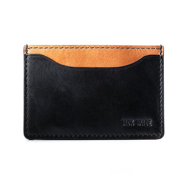 Jack Spade Mens Mitchell Leather Credit Card Holder - 3.9 Inches, Black/Brown
