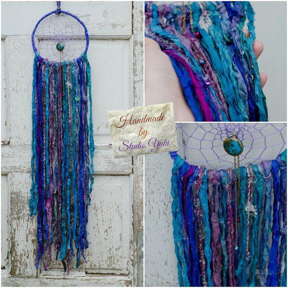 Bohemian Gypsy Dreamcatcher, Blue, Purple, Boho Chic, Festival, Sari Silk, Native, Dream Catcher, Wall Hanging, Boho Decor, Wedding Gift by Studio Yuki