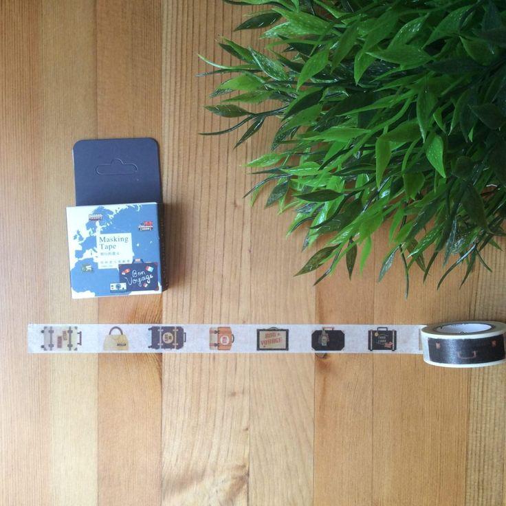 Washi tape ilustración maletas. Cinta adhesiva decorativa con estampado de maletas. Ideal para decorar agendas, bullet journal, objetos... Bon voyage!