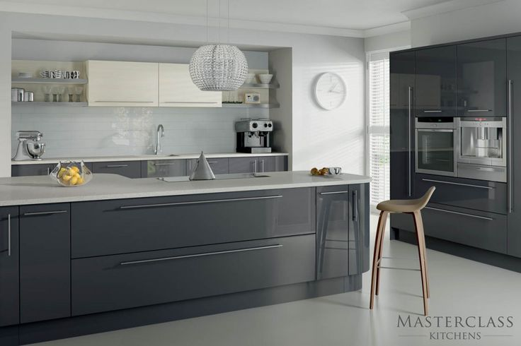 a mix and match kitchen in grey and ivory high gloss.