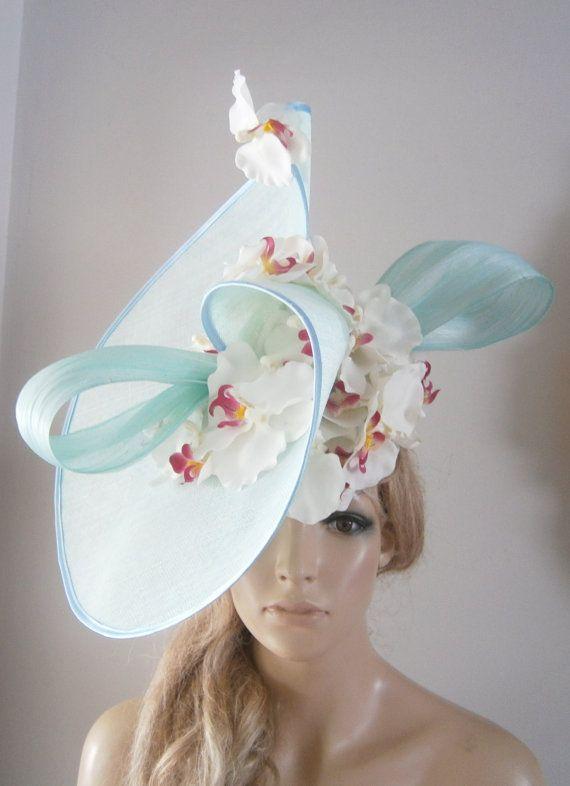 Aqua twisting sinamay sculpture upon a perching beret hat