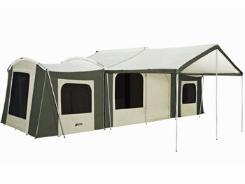 This tent is like a collapsible cabin.  Site says 12 people will fit.  I'm thinking two couples/small families (it's three rooms, and the center room could be for games and storage, with two bedrooms, and a shaded awning in front for some chairs). Downside: crazy expensive, and crazy heavy to carry when all packed.  6160 Grand Cabin Canvas Tent » Kodiak Canvas