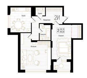 ЖК New York Concept House: планировка 2-комнатной квартиры 80.32 м2, тип 2И