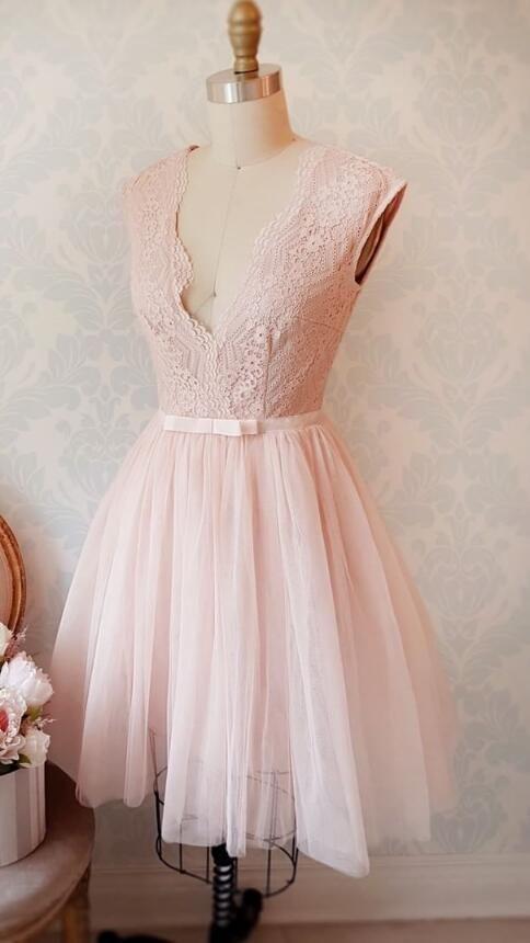 Cute A-line Pink Avone Knee Short Pink Homecoming Dress Party Dress,438