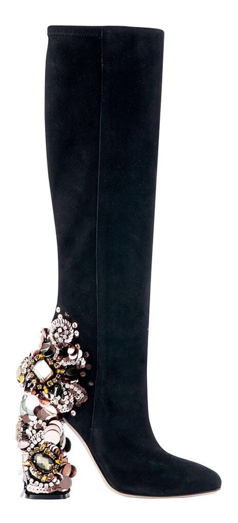 This boot would be perfectly acceptable if not for that heel. It's not just dangerous-looking, it's going to distract from my shapely calves. [Dsquared² Fall 2014]