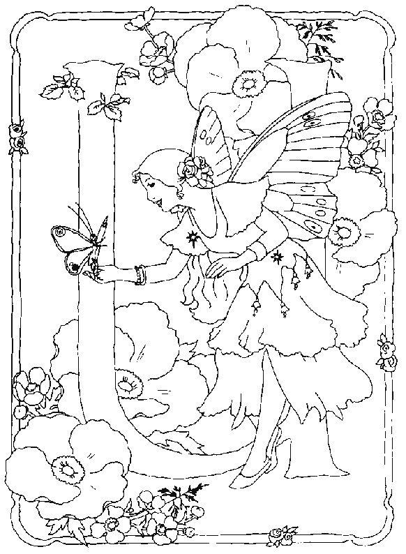 kleurplaat Alfabet feeen - Alfabet feëen U