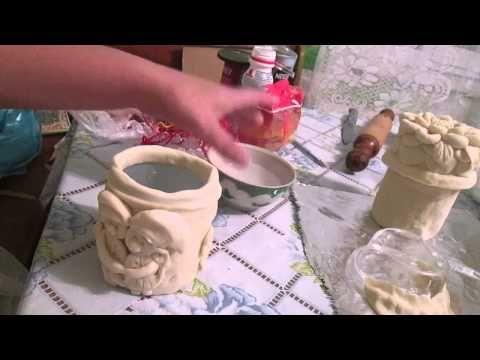 Украшения для кухни из соленого теста.Баночки для специй - YouTube