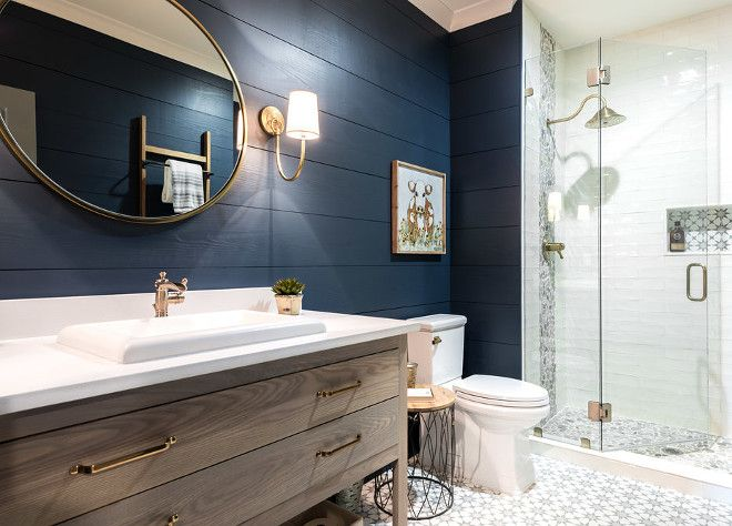 Navy Shiplap Paint Color: Sherwin Williams Serpent. Design by Hart & Lock Design