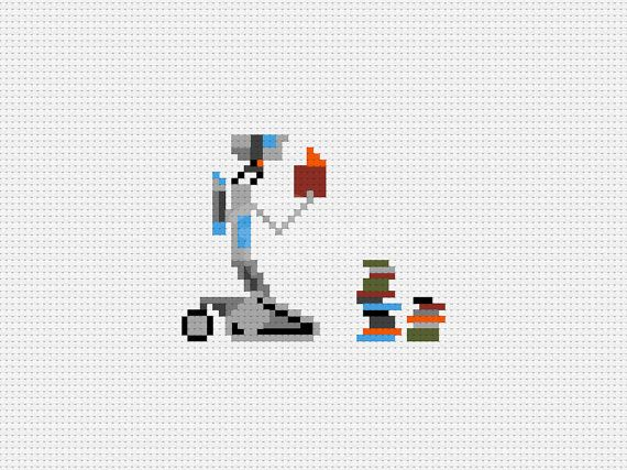 Need Input  Johnny Five  Short Circuit   Cross Stitch by Patchoo, $3.75