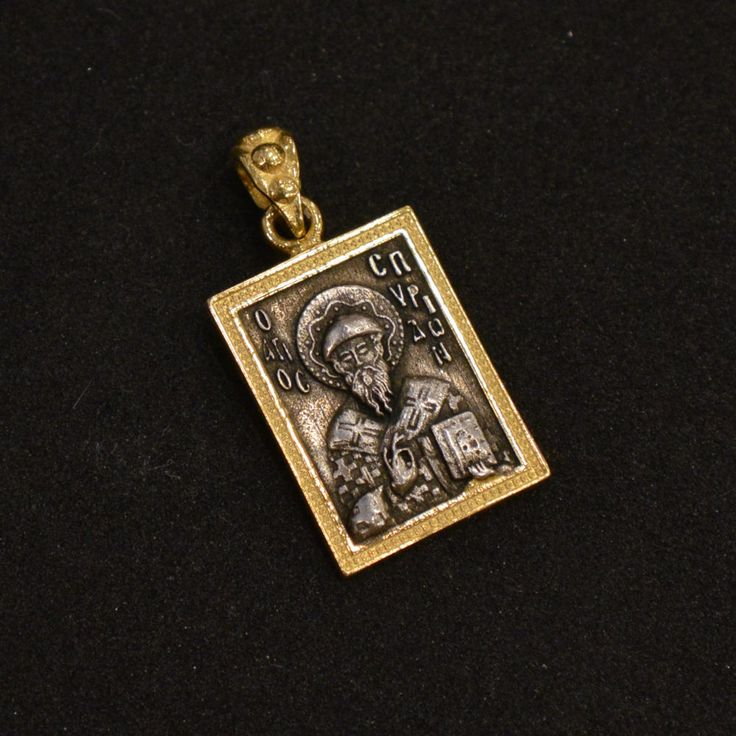 Sterling Silver 925 Pendant Medalion Orthodox Gold Plated 999 St.Spyridon