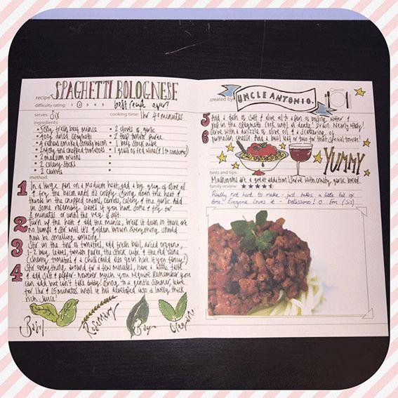 Mon livre de cuisine: My Family Cook, example de recite écrite sur le livre