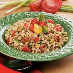 """Brown Rice Lentil Salad Recipe -""""My family isn't always crazy about trying new recipes,"""" DeAnn Howard writes from Lisbon, Iowa. """"The first time I served this salad, they took tiny helpings just to appease me. But the unanimous verdict was 'It tastes great!'"""""""