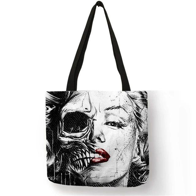 2018 Popular Style Female Shoulder Bag Monroe Skull Tattoo Eco Linen Handbag Lady Girl Casual Shopping Multi-function Bags   – Handbacks